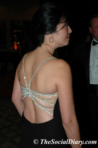 rhinestone accented back of gown