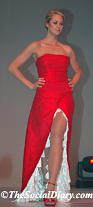 lacey long red dress with white ruffle insert in front slit