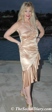 margo schwab in gold cocktail dress